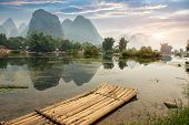 picture of raft  - Bamboo rafting on river - JPG