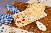 pic of gyro  - Freshly made chicken gyros with pita bread - JPG