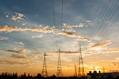 picture of electric station  - The Electric power station on a sunset background  - JPG