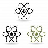 picture of neutron  - atom model icons set - JPG