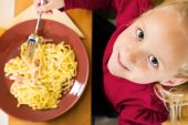 Child having noodles