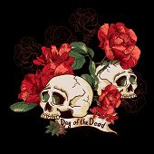 foto of day dead skull  - Skull and Flowers Day of The Dead Vector Design element - JPG