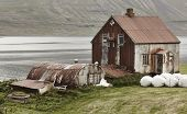 stock photo of iceland farm  - Iceland landscape in Seydisfjordur - JPG