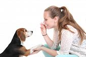 picture of hound dog  - dog obedience training trainer with pet - JPG