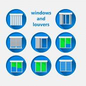image of louvers  - Set of blue circle vector icons for windows with green curtains and white louvers - JPG
