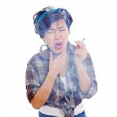picture of cough  - Young asian with cigarette in hand having bad cough - JPG