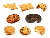 stock photo of biscuits  - Cookies vector set - JPG