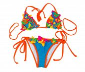 picture of one piece swimsuit  - Orange with blue swimsuit with a pattern of a butterfly - JPG