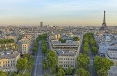 stock photo of charles de gaulle  - Eiffel Tower and Les Invalides as seen from the Arc de Triomphe - JPG