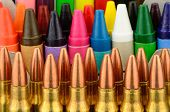 picture of bullet  - Back to school concept studio shot with bullets as neccisary supplies - JPG