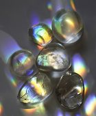 picture of quartz  - Quartz crystals catching the light displaying beautiful rainbow colors - JPG