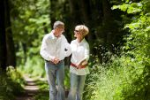 stock photo of mature adult  - Mature or senior couple deeply in love chasing each other in late spring or early summer - JPG