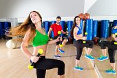 stock photo of cardio exercise  - dance cardio people group training at fitness gym workout exercise - JPG