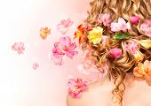 picture of perm  - Hairstyle with colorful flowers - JPG