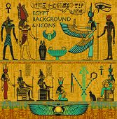 stock photo of isis  - Set of Ancient Egyptian Deities - JPG