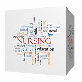 foto of rn  - Nursing 3D cube Word Cloud Concept with great terms such as licensed skills caring and more - JPG