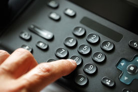 stock photo of telecommunications equipment  - Dialing telephone keypad concept for communication - JPG