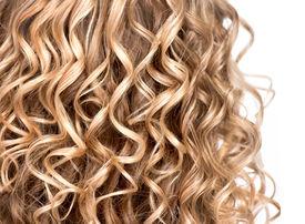 foto of perm  - Curly blonde hair closeup - JPG