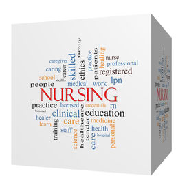 stock photo of rn  - Nursing 3D cube Word Cloud Concept with great terms such as licensed skills caring and more - JPG