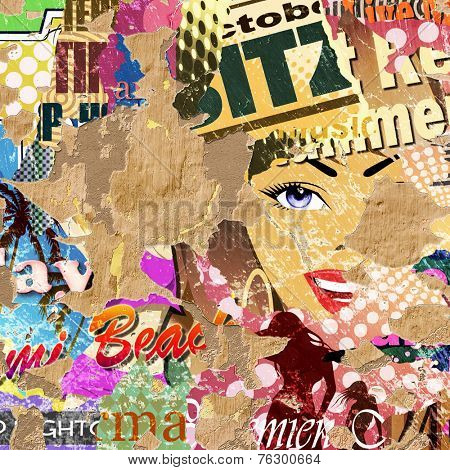 Grunge Background with Old Posters and Flaking Plaster. - An illustration with some photographic elements.