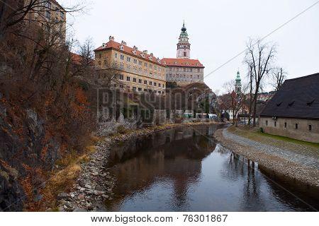 Castle Tower In Cesky Krumlov, Czech Republic