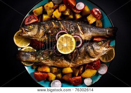 Bass Fish Grilled