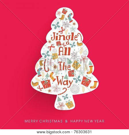 Creative X-mas Tree decorated with stylish text and other ornaments for Merry Christmas and Happy New Year celebrations.