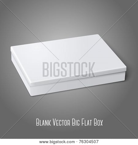 Blank white flat package box lying isolated on gray background. For design and branding. Vector