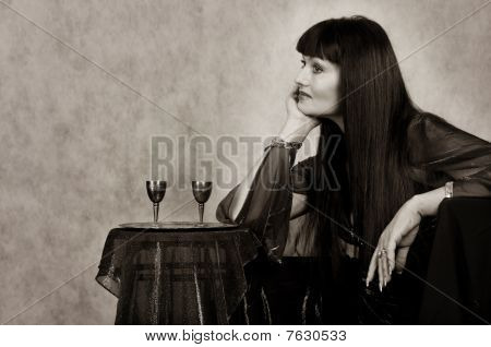 Beautiful Woman With Silver   Wineglass