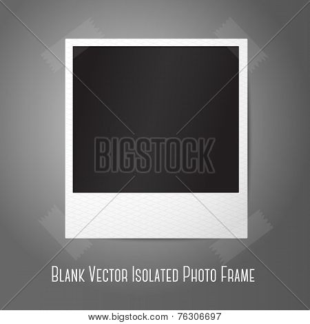 Blank vector instant photo frame, sticked to the wall.