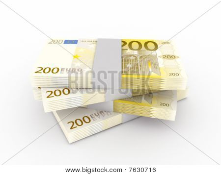 Stack Of 200 Euro Bills