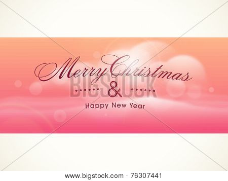 Beautiful poster or banner design for Merry Christmas and Happy New Year celebrations on stylish colorful background.