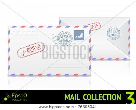 Sea mail envelope isolated on white background.