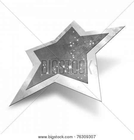 Sparkling silver star isolated, clipping path included