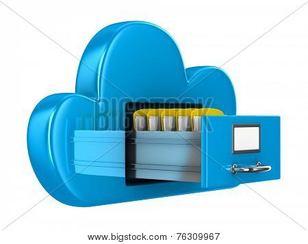 Cloud and folder on white background. Isolated 3D image