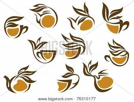Organic herbal tea icons