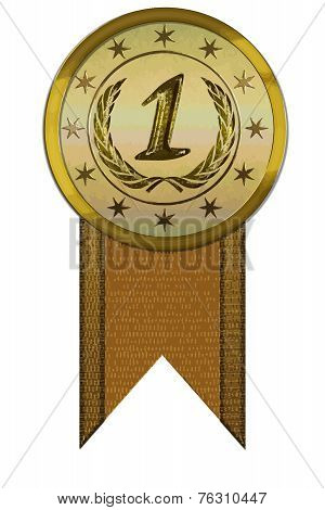 Vector Medal - First Place With Ribbon