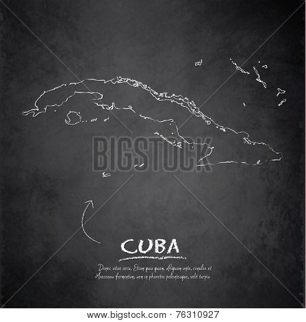 Cuba map blackboard chalkboard vector