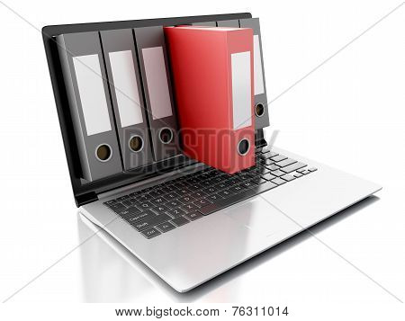 3d Laptop and files. isolated white background
