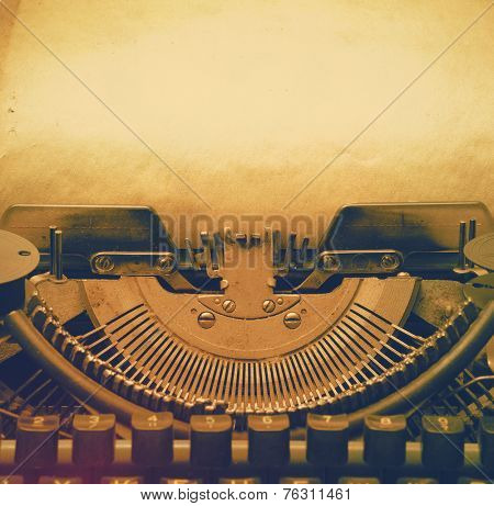old retro typewriter with paper, retro filtered, instagram style