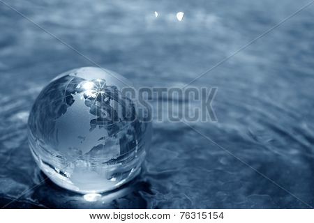 glass globe on water