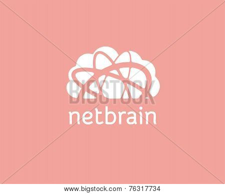 Abstract cloud storage vector logo icon concept. Logotype template for branding