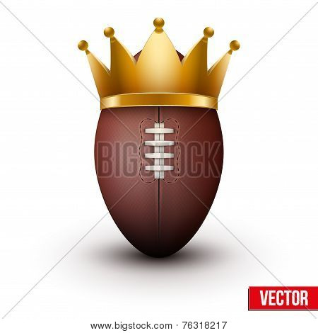 Classic rugby ball with royal crown