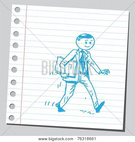 Businessman hurrying with documents