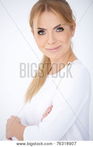 Close up Confident Middle Age Blond Woman Wearing Long Sleeve White Shirt  Smiling at the Camera. Isolated on White Background.