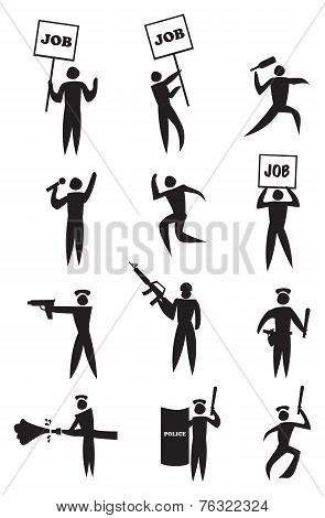 Employment Protest Icon Set