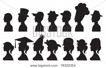 Vector Illustration Of People In Different Hats