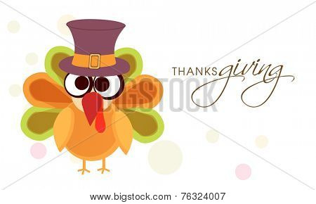 Cute and funny turkey bird in pilgrim hat for Happy Thanksgiving Day celebrations.