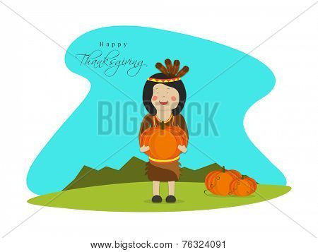 Cute little tribe girl with pumpkins on stylish blue and white background for Happy Thanksgiving Day celebrations.