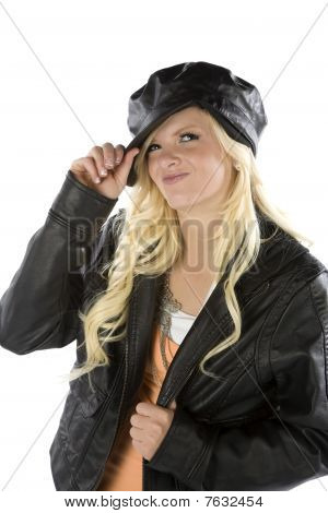 Girl Holding Black Hat Smirking